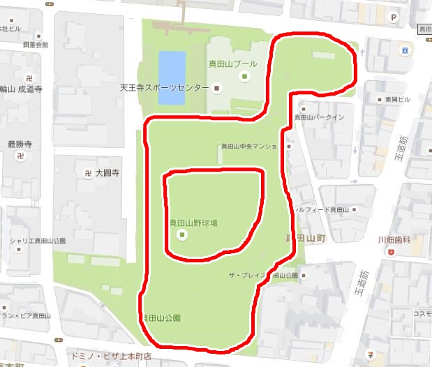 イワークの巣 真田山公園 調査範囲
